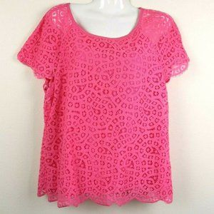 J Crew Lace Lined Keyhole Sheer Blouse
